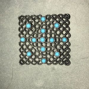 Silver and Blue Stone Pin.